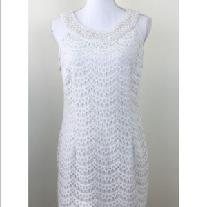 White Lace Dress with Pearl Neckline
